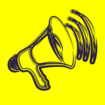 Illustration of a megaphone on a bright yellow background.